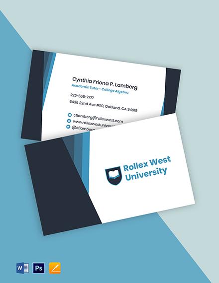 Academic Tutor Business Card Template