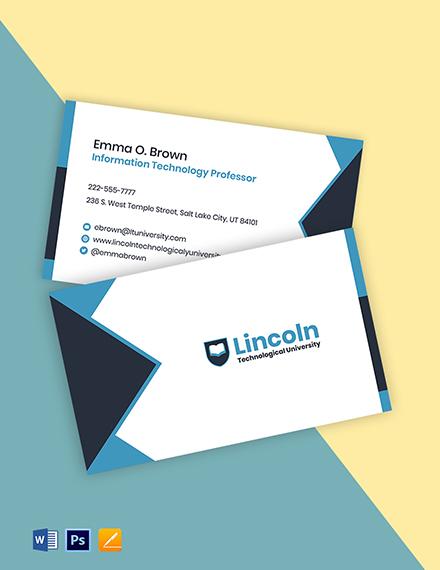 Tech University Business Card Template