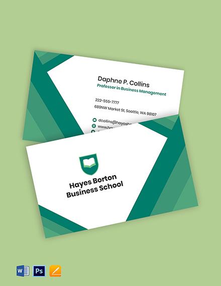 Business School Business Card Template