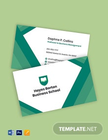 Business School Business Card Template