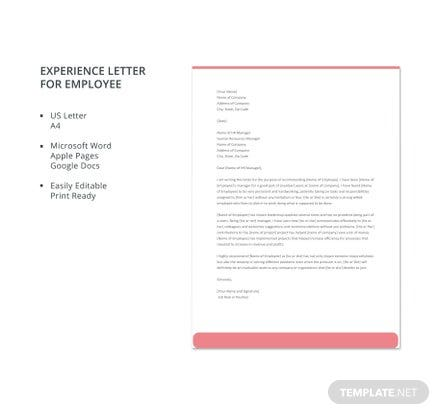 Sample experience letter template in microsoft word apple pages experience letter for employee template spiritdancerdesigns Image collections