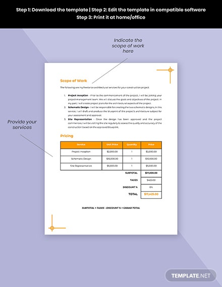 Freelance Project Quotation Template Sample
