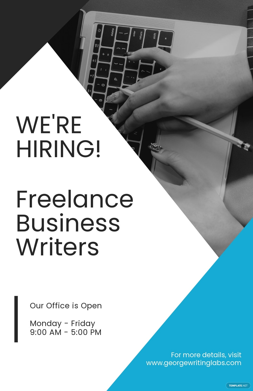 Professional Freelance Writer Poster Template