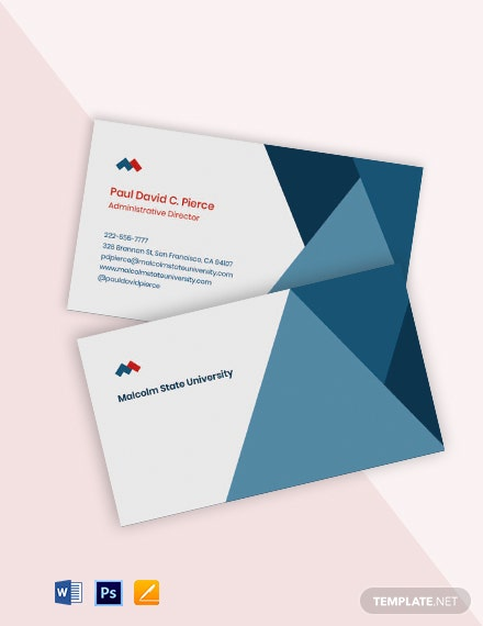 University Administrative Business Card Template