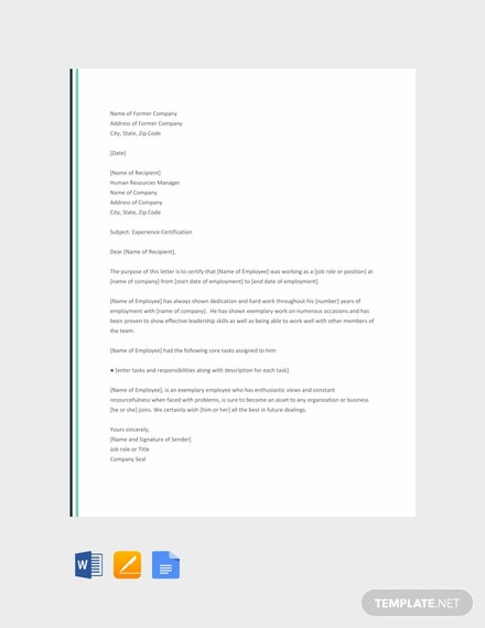 Free Work Experience Letter Template Download 1994
