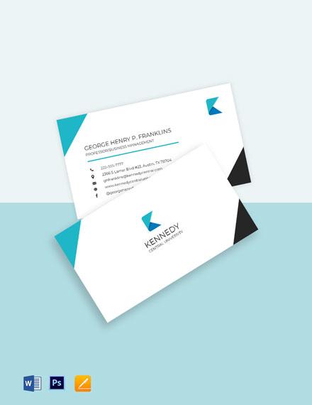 University Education Business Card Template