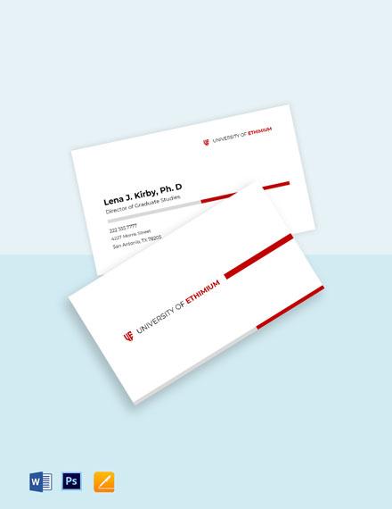 University Graduate Business Card Template