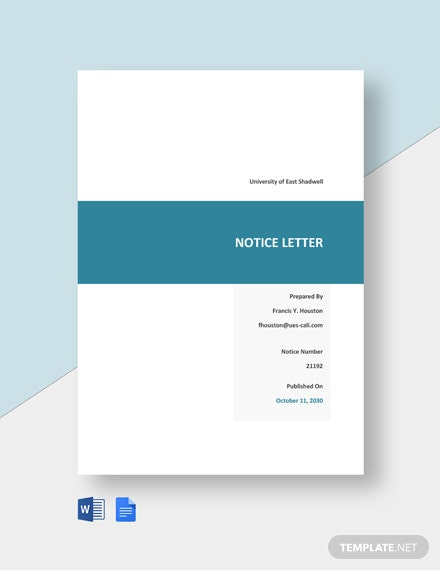 Letter of Notice to the Student Template