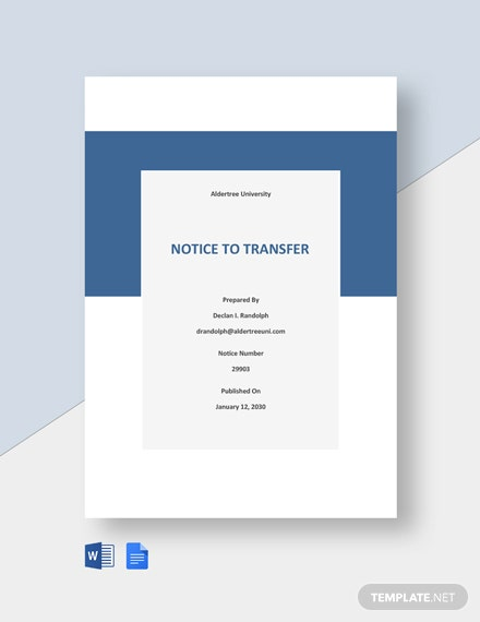 Notice to Transfer to Another University or College Template