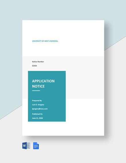 University Application Notice Template