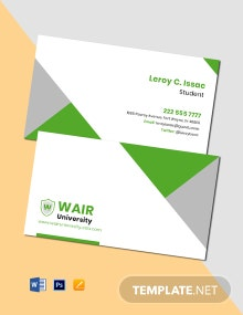 College Student Business Card Template