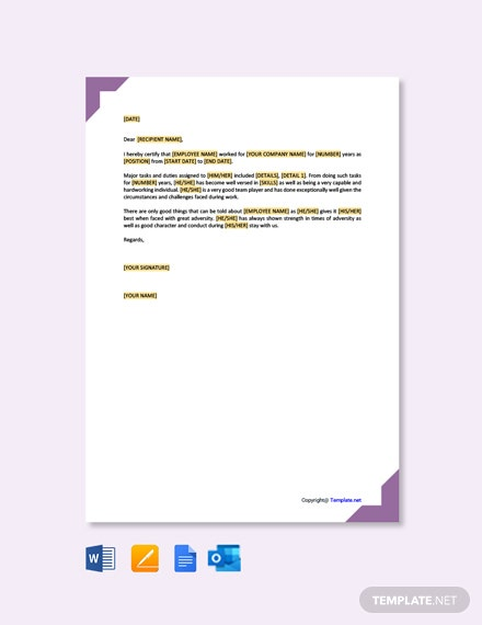 Free Job Experience Letter Template