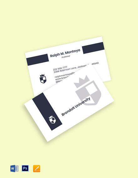 University Professor Business Card Template