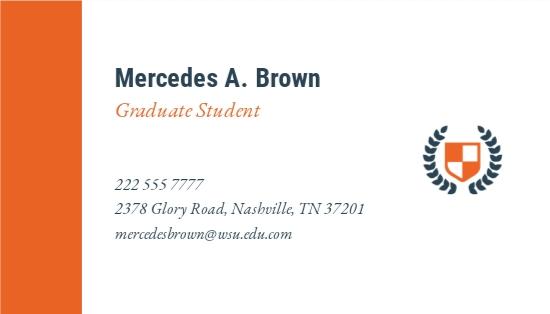 University Graduate Student Business Card Template 1.jpe
