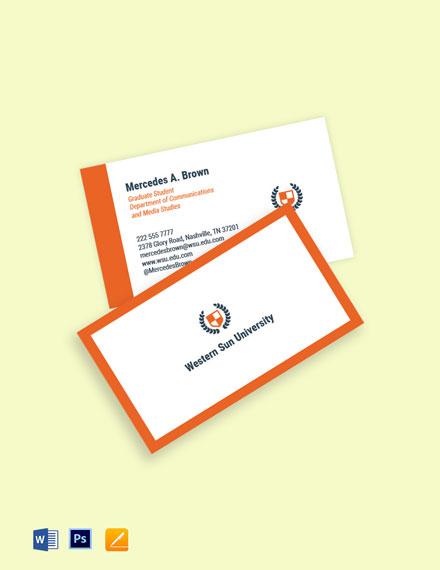 University Graduate Student Business Card Template