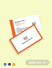 University Graduate Student Business Card Template