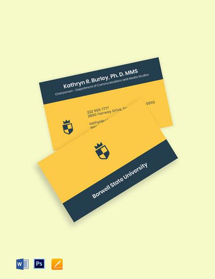 University Head Department Business Card Template
