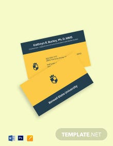 University Head Department Business Card Template