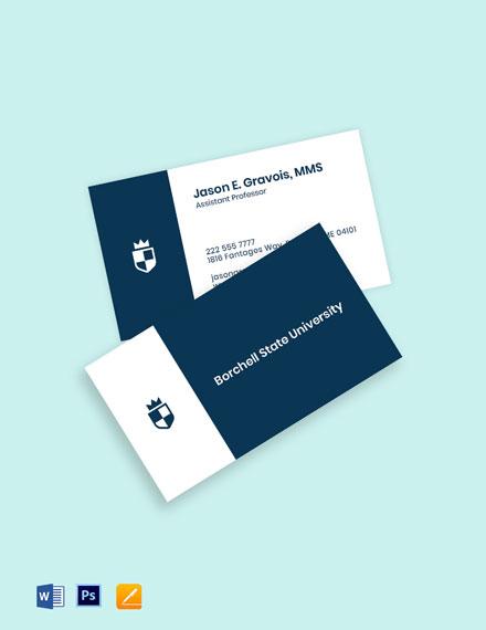 University Assistant Professor Business Card Template