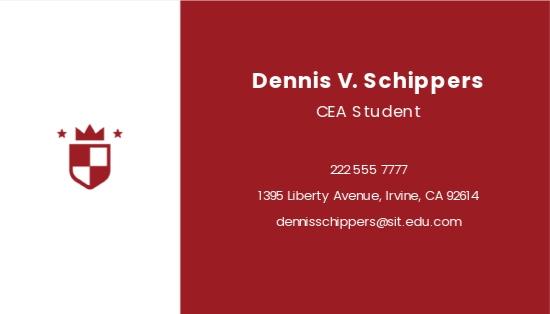 University Student Business Card Template 1.jpe