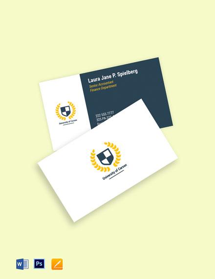 University Department Business Card Template
