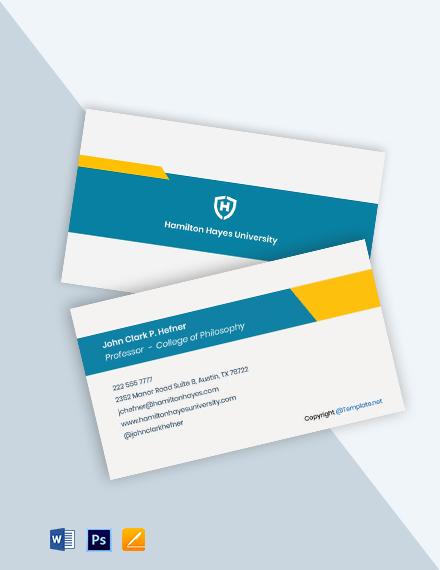 Free College Professor Business Card Template