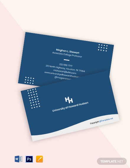 Free Modern University Business Card Template