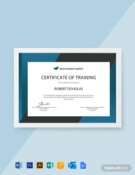Free Security Training Certificate Template