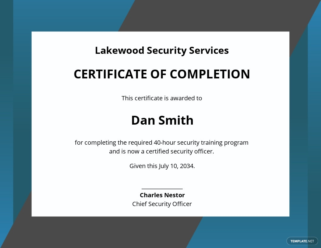 Security Training Certificate Template