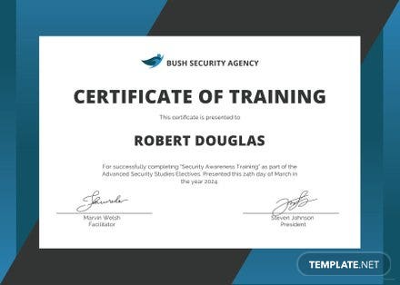 Free security training certificate template in microsoft word free security training certificate template yelopaper Images