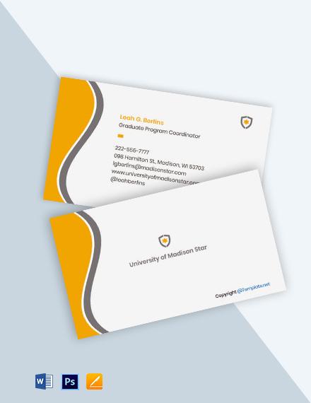 Free Sample University Business Card Template