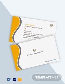 Free Sample University Business Card Template
