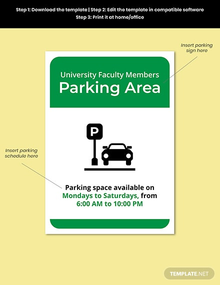University Parking Sign Template Format