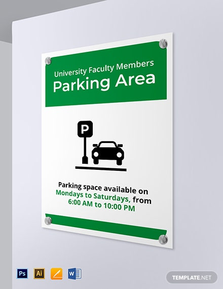 University Parking Sign Template