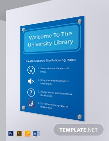 University Library Signage Template