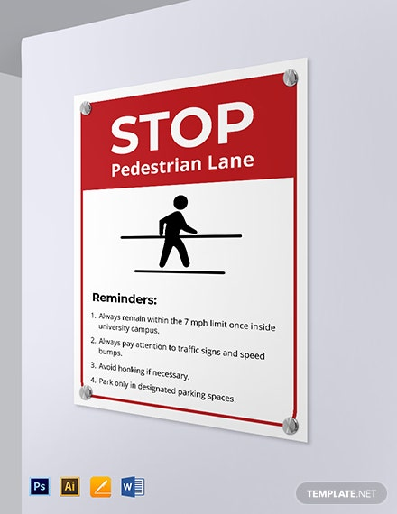 University Road Stop Sign Template