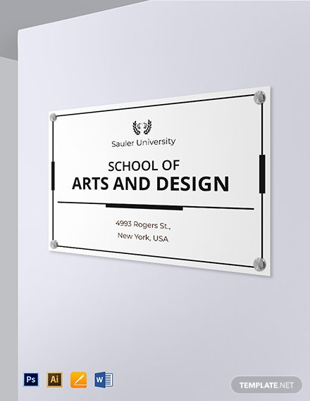 University Official Building Sign Template