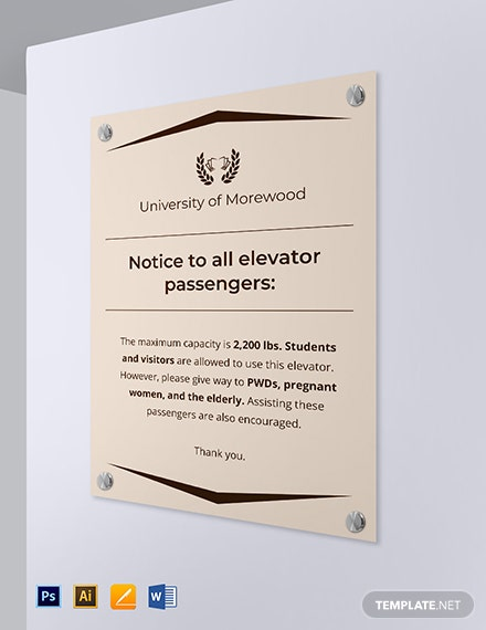 University Elevator Sign Template