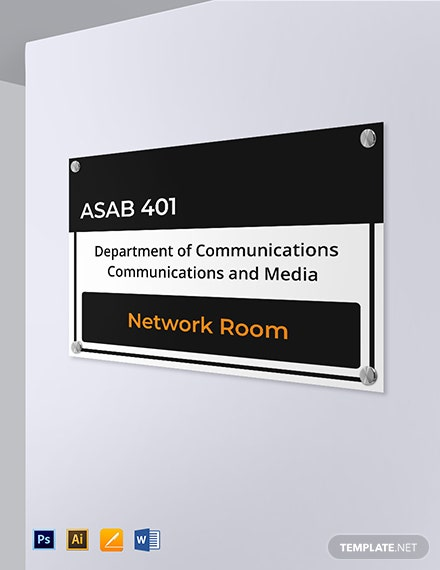 Campus Room Identification Sign Template