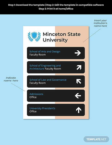 University Directional Signage Template Format