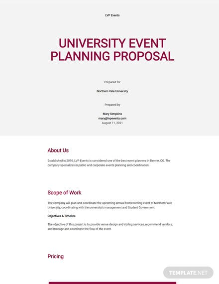 University Event Planning Proposal Template