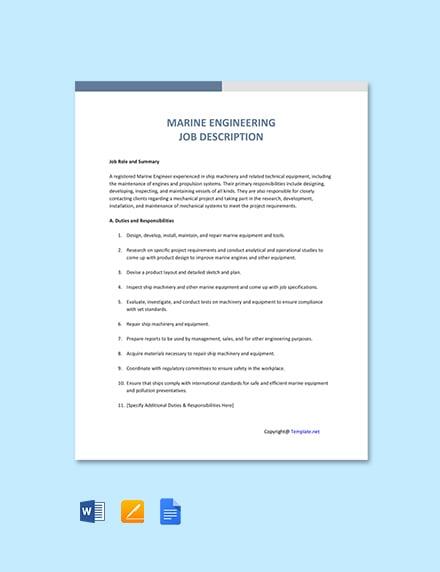 Free Marine Engineering Job Description Template
