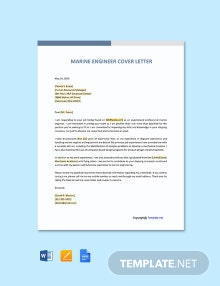 Free Marine Engineering Cover Letter Template