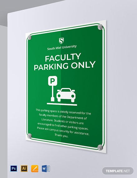 Facility Parking Signage Template