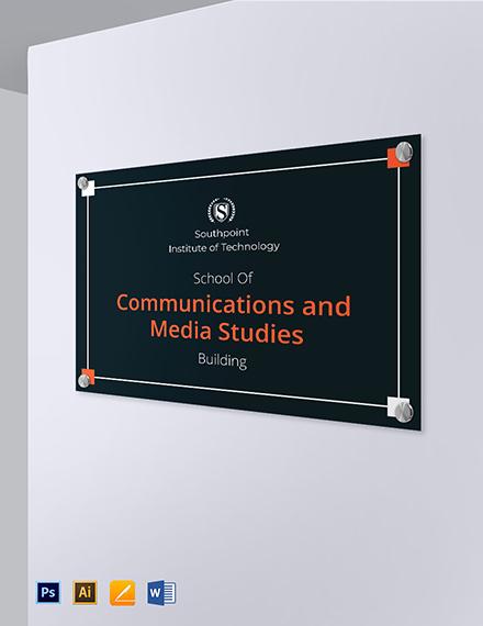 University Building Identification Sign Template
