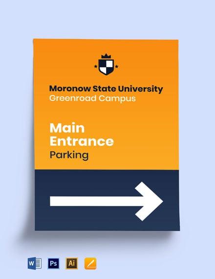 University Main Identification Sign Template