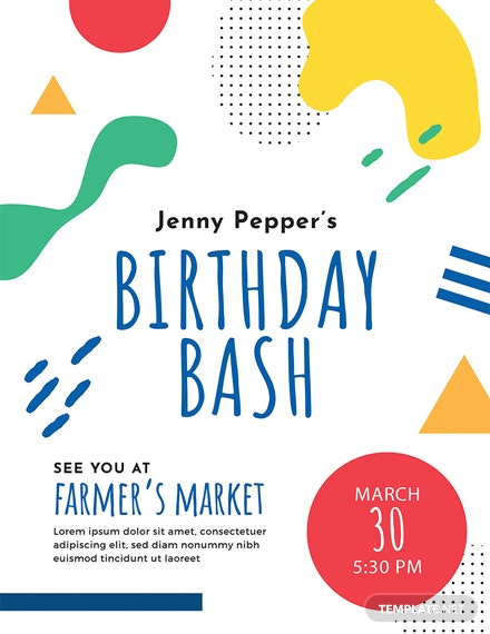 Free Birthday Event Poster Template