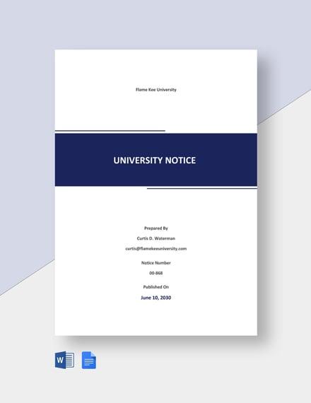 Free Sample University Notice Template