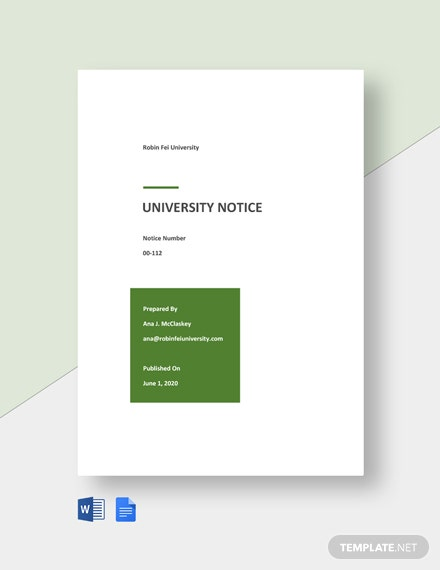 Free Simple University Notice Template