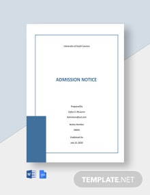 Free University Admission Notice Template